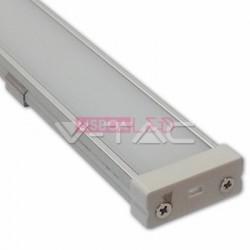 Perfil Aluminio 1 Mt Largo Difusor Liso Opalino - 8959986