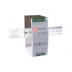 Fonte de alimentação industrial CALHA DIN 12VDC 6,3A 75W - DR-75-12