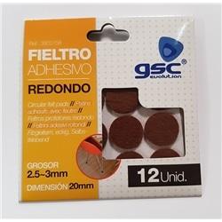 Pack 12 feltros adesivos red. 20mm castanho GSC-3802758 - 5003802758