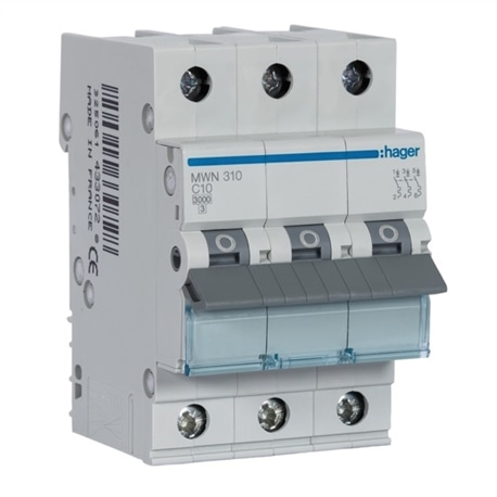Disjuntor 3P 10A C 3kA 3M MWN310 - MWN310