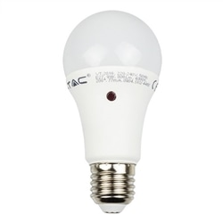 LAMPADA LED 9W 2700K A60 E27 806LM C/ SENSOR V-TAC 4459 - 8954459
