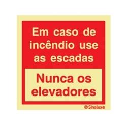 """PLACA SINALIX P0601 150X150 """"EM CASO DE INCENDIO"""" - P0601150X150"""