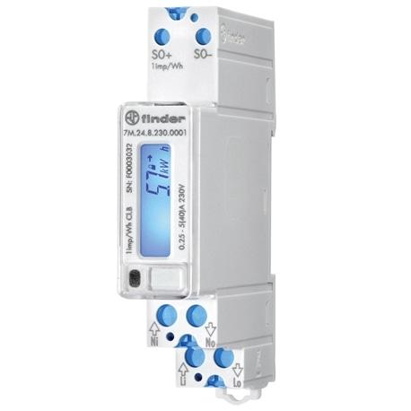 CONTADOR ENERGIA 40A MONOFÁSICO LCD FINDER 7M.24.8.230.0001 - 7M2482300001