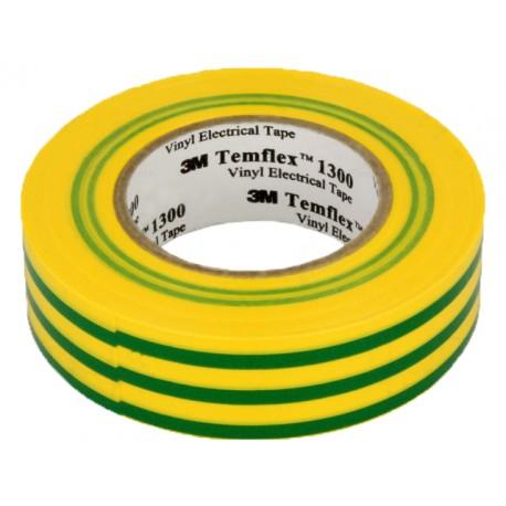საიზოლაციო ლენტა მწვანე/ყვითელი, Temflex 1500 20 მ 19 მ