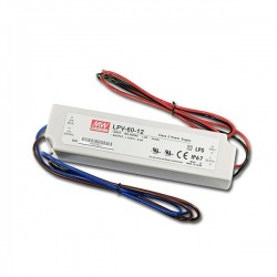 Fonte Aliment. 12VDC 5.0A 60W IP67 - Mean Well - LPV-60-12