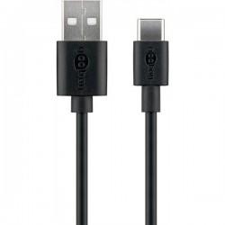 Cabo SuperSpeed USB2.0 A macho - USB-C macho 1.0m - preto - 500-45735