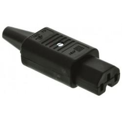 FICHA IEC C15 FEMEA 3Pin 10A Ø8,5mm DIREITA C/ RANHURA - 011-0940